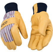 Kinco Menand039s Outdoor Pigskin Leather Knit Wrist Work Gloves Yellow Xl -case Of 72