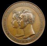 1840 Marriage Of Victoria And Albert 45mm Medal - By Helfricht