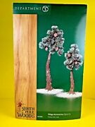 Dept 56 North Pole Woods Village Accessories Set Of 2 Large Pinewood Trees
