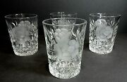 4 Rare Sinclaire American Brilliant Glass Rose Etch And Cut Whiskey Glasses Signed