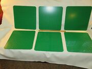Lot 6 Lego Duplo Green 15 X 15 Inch Thin Base Plates 24x24 Posts Rounded Corners