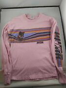 Vtg Pink 1982 80and039s Long Sleeve T Shirt Size Medium Running Shoes Womens