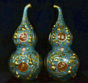 23.6 Old China Cloisonne Enamel Copper Feng Shui Gourds Lucky Bixie Statue Pair
