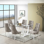 Kings Brand Furniture - Elmer 7 Piece Dining Set, Table And 6 Chairs, White/gray