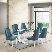 Kings Brand Furniture - Elmer 7 Piece Dining Set, Table And 6 Chairs, White/blue