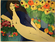 Walasse Ting Reclining Nude With Flowers 47 X 63 Serigraph 1978 Contemporary