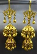 Antique Large 18kt Yellow Gold Middle Eastern Filigree Chandelier Earrings 3057
