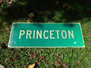 Authentic Retired Princeton City Exit Road Highway Traffic Town Sign 18x48