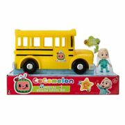 Cocomelon Musical Yellow School Bus With Sound Jj Figure Wheels On The Bus Toy