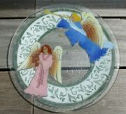 Peggy Karr Fused Glass Plate Angels Trumpet Lute 11.5 Signed Retired Heavenly