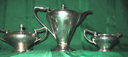 Art Deco Hammered Silverplate Coffee Set By Derby Silver Co.