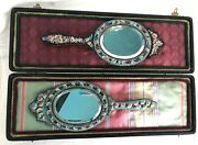 Pair Of Antique Micromosaic Mirrors With Display Jewelry Case Micro Mosaic