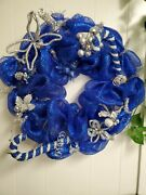 Blue White Silver Wreath Dallas Cowboys Colors Mesh And Ornaments Christmas