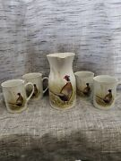 5pc Vtg Rare Ned Smith Wild Game Birds Pheasant Pitcher And Mugs Rubel 1981