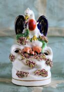 Rare Staffordshire Inkwell Of Mother Eagle Protecting Chicks From A Snake C.1855
