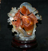 12 China Natural Red Agate Carnelian Carved Year Fish Lotus Flower Lucky Statue