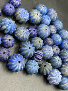 Old Gems Stone Lapis Jewelry Beads Necklace String From Ancient Roman's Era