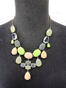 J. Crew Statement Bubble Necklace Green Yellow Gray Clear Chunky Beads Bold Bib