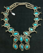 Old Pawn Navajo Sterling Turquoise Shadow Box Style Squash Blossom Necklace 1