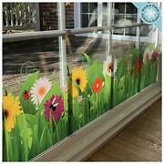 Flower Window Clings - Wild Grass With Flowers And Insects Window Border Decal
