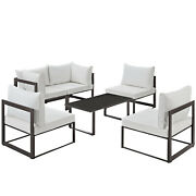Modway Fortuna 6 Piece Outdoor Patio Sectional Sofa Set Brown White