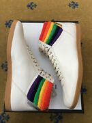 New Mens Trainer Sneakers Shoes High Top White Rainbow Uk 11.5 Us 12 45.5