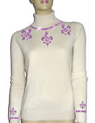 Luxe Oh` Dor 100 Cashmere Sweater Pearl White Amethyst Purple 34/36 Xs/s