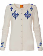 Luxe Oh` Dor 100 Cashmere Knit Cardigan White Sapphire Blue Size 44/1555.4oz