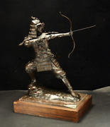 Japanese Vintage Samurai Drawing A Bow And Arrow Bronze Statue 29