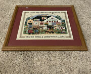 Cross Stitch Framed Wall Art Town Antique Store Carrage Rides