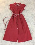 New Lanz Of Salzburg Red Vintage Style Belted Button Front Dress Size Xl