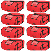 Case Of 8 Pizza Delivery Bags Thick Insulatedholds 4-5 16 Or 18 Pizzas Red