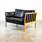 Mid Century Danish Modern Sofa Settee 2 Seater Stouby Worn Leather Black Couch