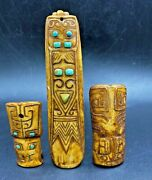 Lot Of 3 Old Antique Bone Engraved Inlay With Turquoise As Jewelry Pendant