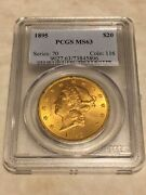 1895 Ms63 Pcgs 20 Double Eagle Liberty Gold Coin Nice Appeal Lustrous Obl