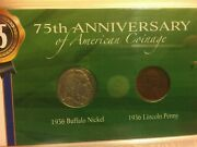 And03975th Anniversary Of American Coinageand039-1936 Buffalo Nickle And Lincoln Cent