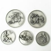 Summerhill Pewter Norman Rockwell Medallions - Set Of 5 - Limited Edition Proofs