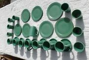 Important Vintage Catalina Island Pottery 30 Piece Set Green Cups Plates Saucers