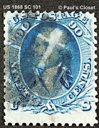 Us 1868 Sc 101 90andcent Washington Blue F Grill With Psag Cert Ung Scv 2250 F/vf