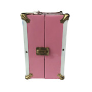 """Vintage Atco Pink Metal Large Doll Wardrobe Clothing Trunk Carrying Case 10""""x 6"""