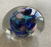 Fantastic Vintage Hand Blown Signed Karg Dichroic Glass Paperweight