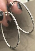 18ct White Gold Diamond Earrings 0.72ct Skinny Large Hoops Inside Out 10g Nr 1ct