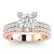1.15ct D-si1 Diamond Round Engagement Ring 14k Rose Gold Any Size