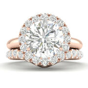 0.95ct D-si1 Diamond Unique Engagement Ring 14k Rose Gold Any Size