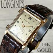 Longines 14k Solid Tank Used Luxury Watch Manual Winding Menand039s Womenand039s Gold Dial