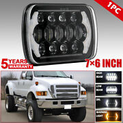 110w Dual Color 7x6 Led Headlight With Drl Amber Turn Signal For Ford F650 E150