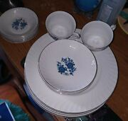 Royal Blue Wedgewood Plates + Bowls+ Cups
