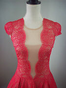 598 Bcbg Rochelle Red Berry Lace Valentine's Day Cocktail Dress Size 12 Large L