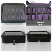 Wolf Watch Box Windsor 10 Pc Glass Cover Luxurious Purple Lining Exc. Condition
