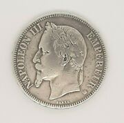Napoleon Iii 1868 Bb Barre French Silver 5 Francs Coin